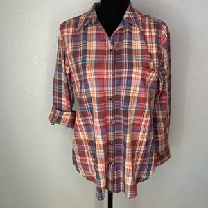 Allison Daley Plaid Button Down red blue orange
